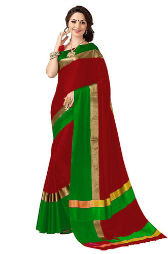 Red And Green Color Poly Cotton Saree