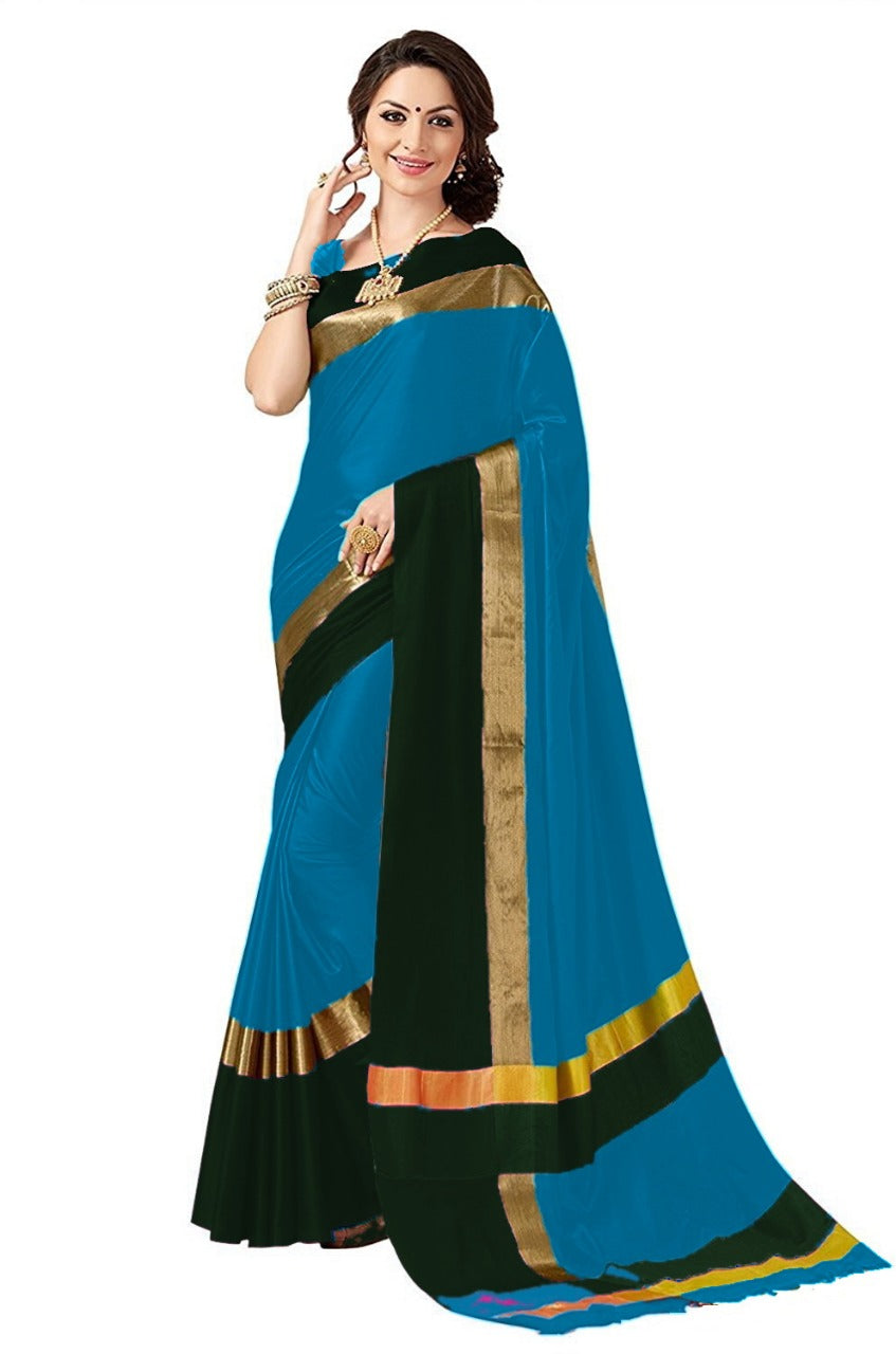 Firozi And Black Color Poly Cotton Saree