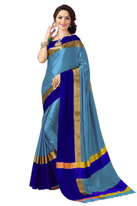 Sky Blue And Blue Color Polly Cotton Sari WS-218