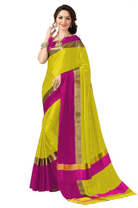 Yellow And Pink Color Poly Cotton Saree