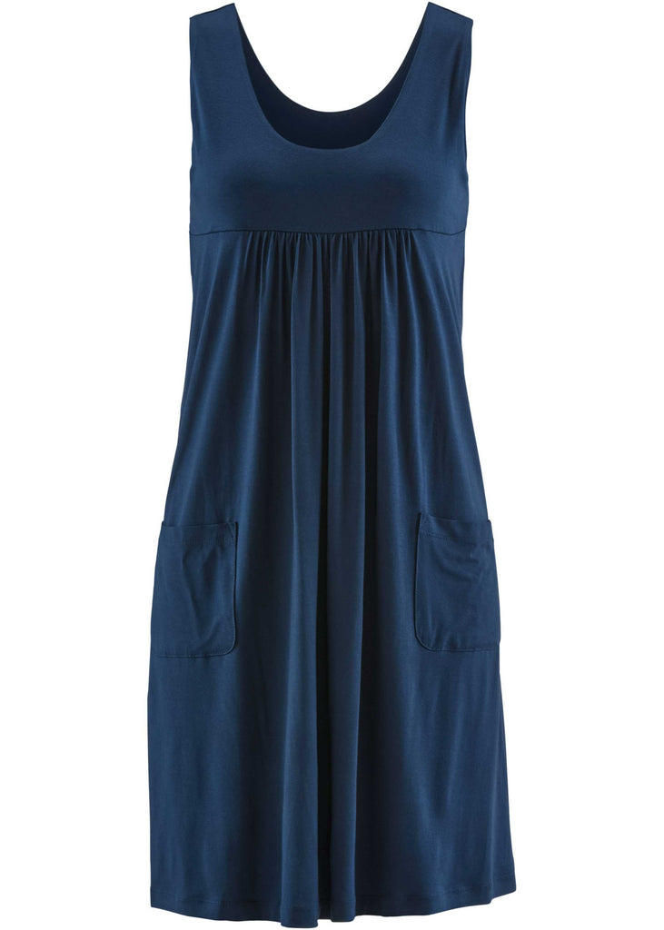 Ladies Plus Size Summer Round-neck Sleeveless Dress with Pockets