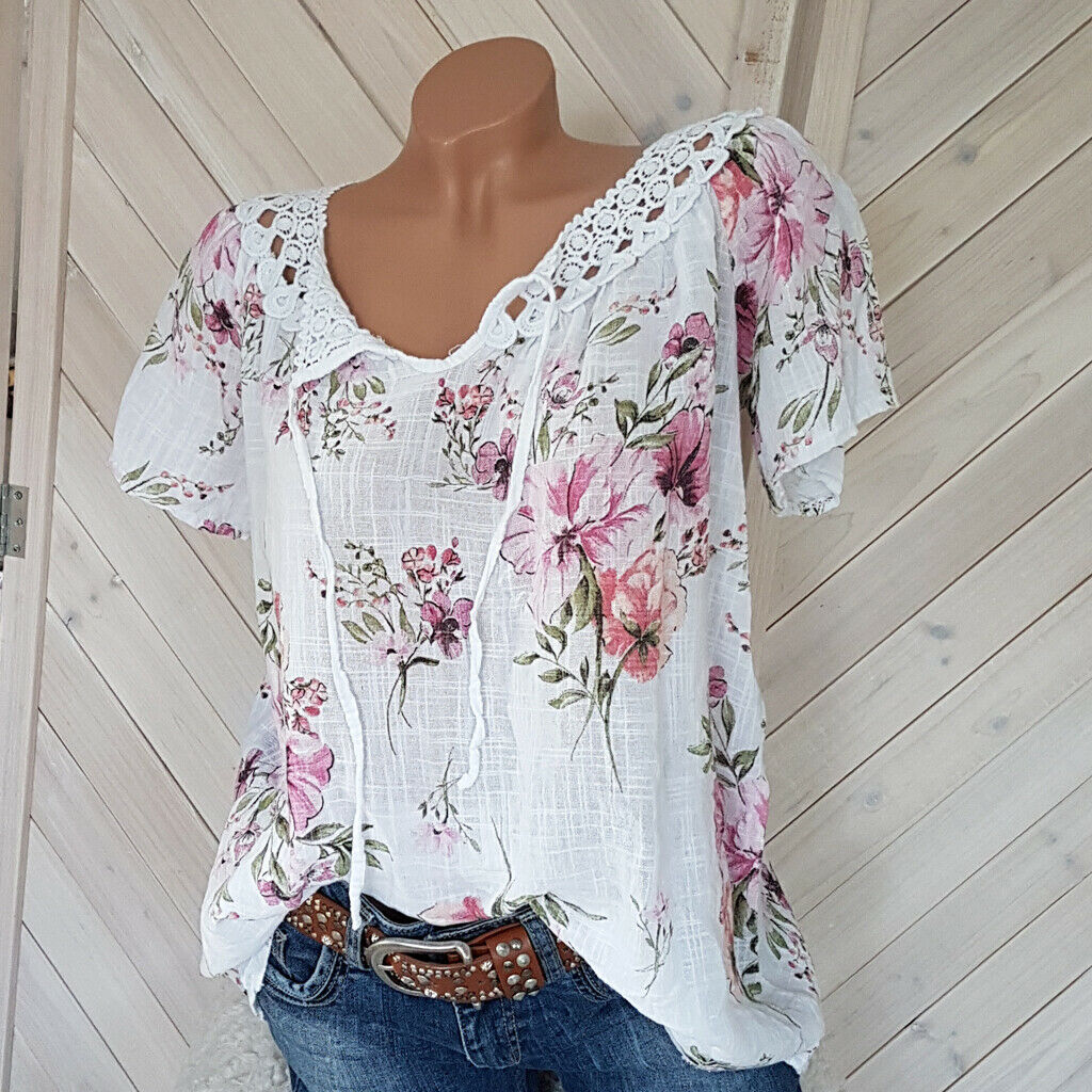 Women's Floral Printed Short Sleeve V-neck Tops Blouse White
