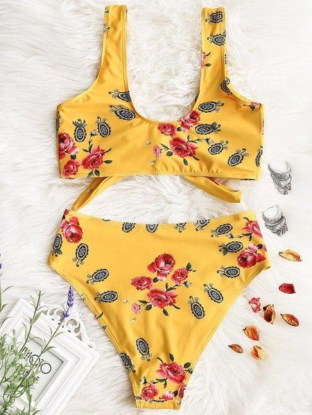 Two Pieces Flower Print Tie Bikini