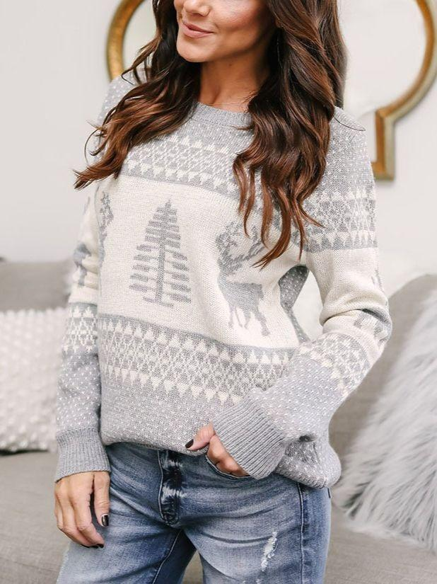 Women Long Sleeve Round-neck Soft Sweater