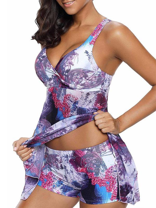 Two Pieces Printed Tankini sexy sling V with steel cup cotton split swimsuit