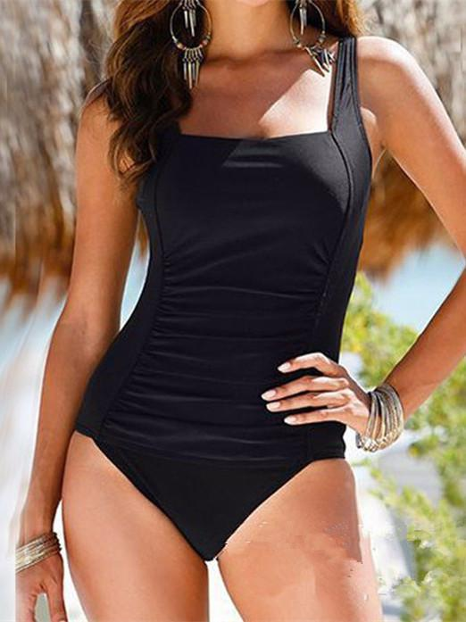One Piece Solid Color Swimwear