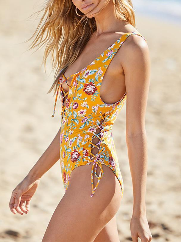 One Piece Floral Swimwear