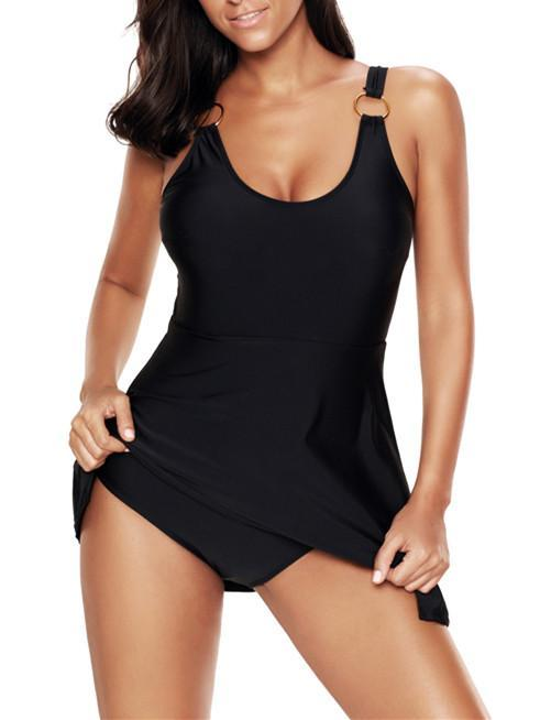 Solid Color Conjoined Plus Size Tank Suit Swimwear
