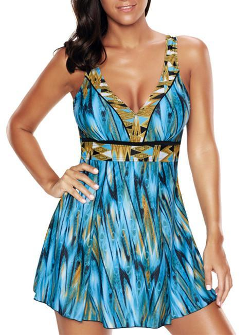Conjoined Printed Conservative Skirt Plus Size  Tankini Swimsuit