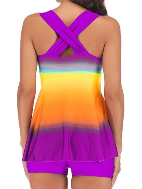 Gradient Printed Ruffle Hem Strappy Back Tankini Set