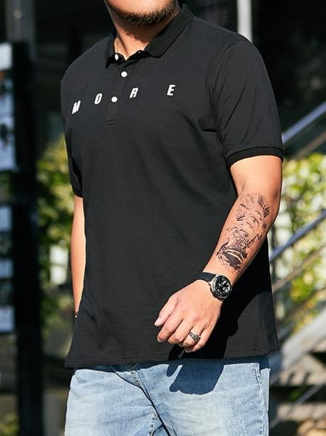 Men's Short Sleeve Polo Shirts Tops in Black