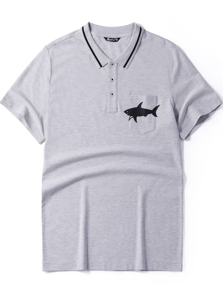 Men's Fashion Short Sleeve Polo Shirts Tops in Gray