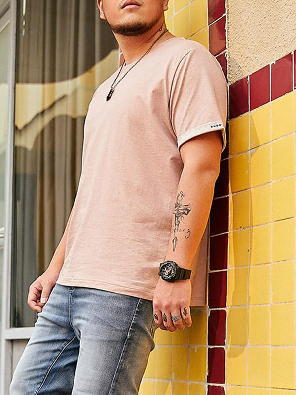 Loose casual trend print short-sleeved Solid color T-shirt men's clothing