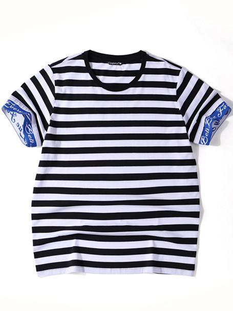 Blue Ribbed Cuff Short Sleeve Striped T-Shirt