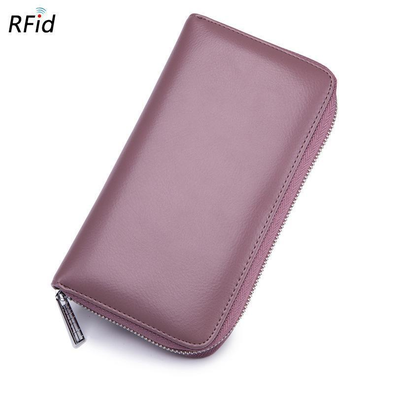 RFID Antimagnetic Genuine Leather 36 Card Slots 6inch Phone Bag Card Holder Long Wallet