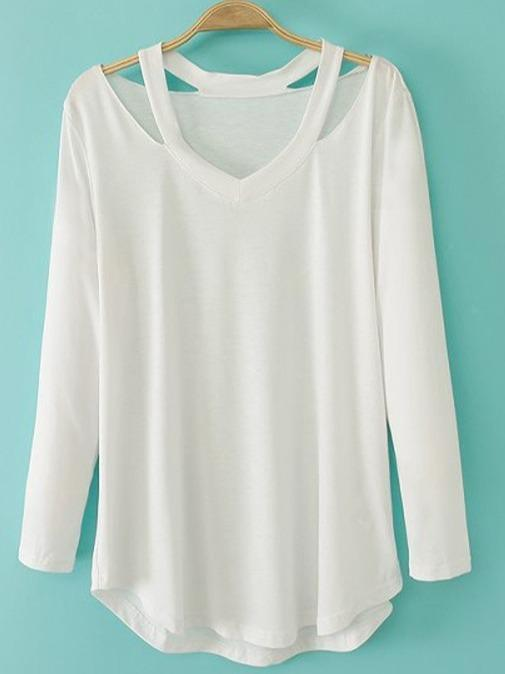 Women's V-neck Cut Out T-shirt Long Sleeve Tops