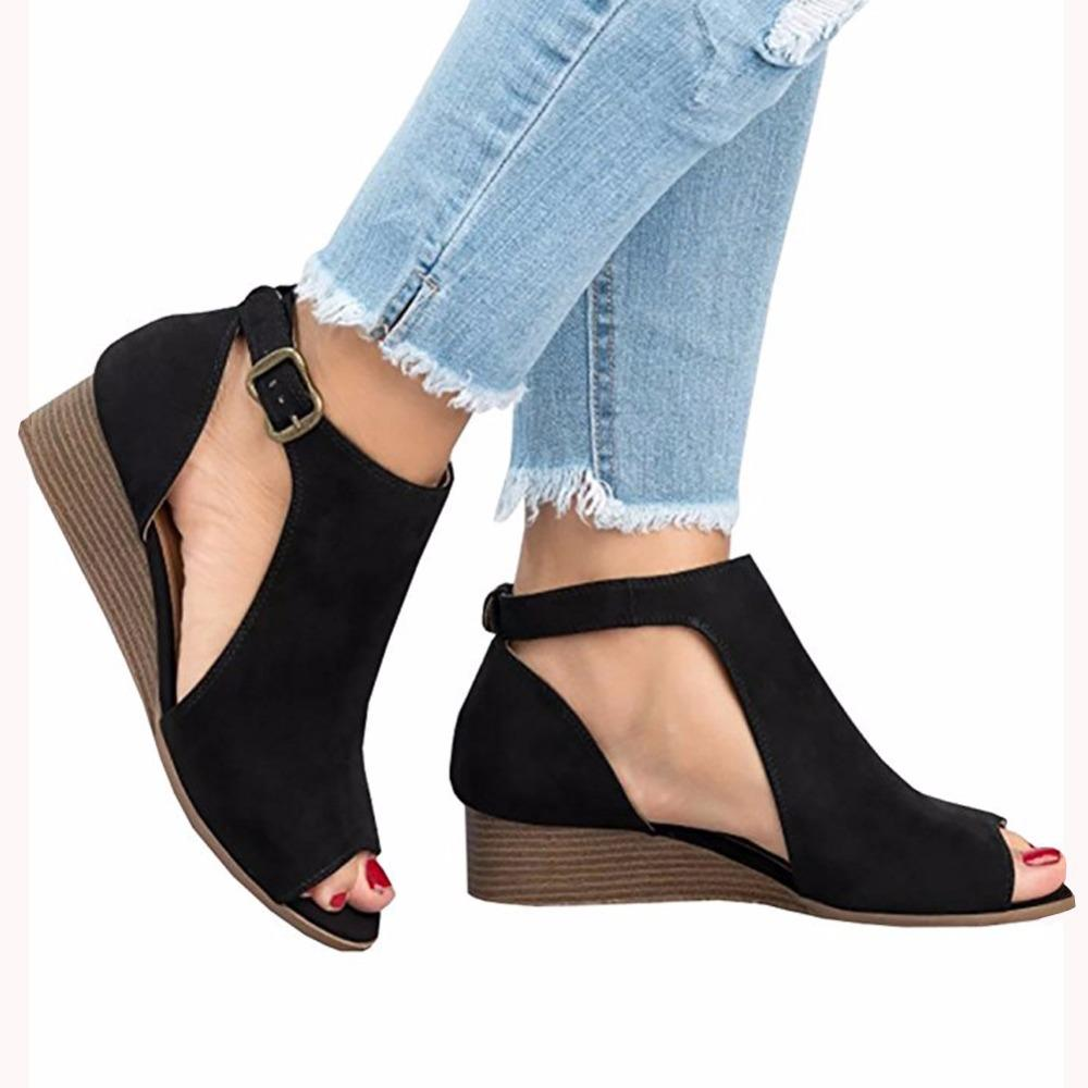 Adjustable Buckle Casual Wedges Summer Sandals