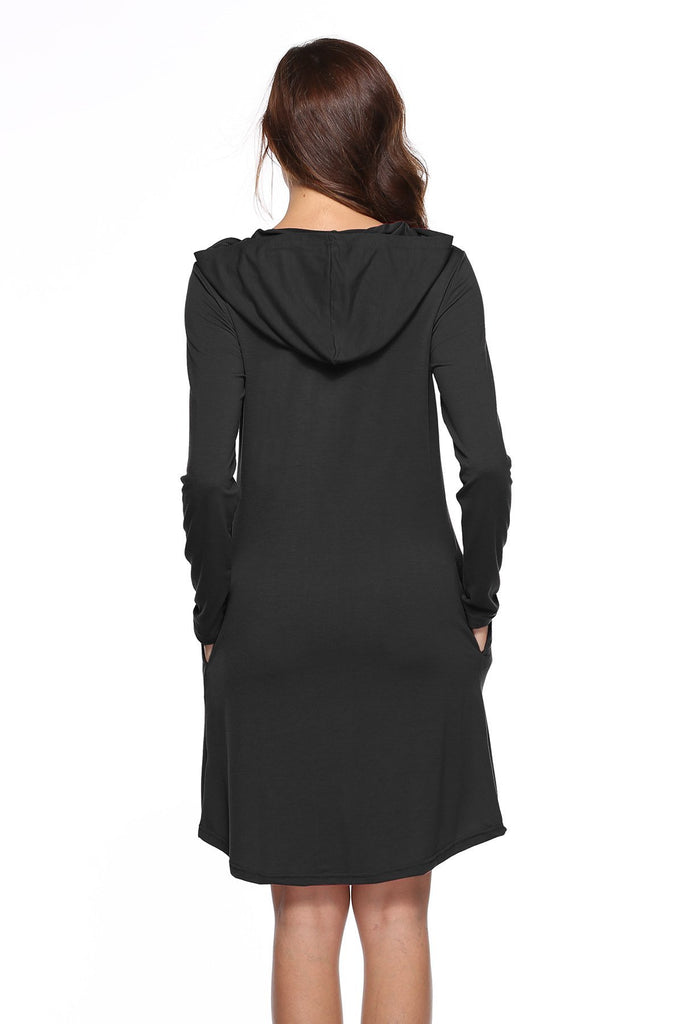 Turtle-neck Long Sleeve Dress Hooded Tunic Dress With Pockets