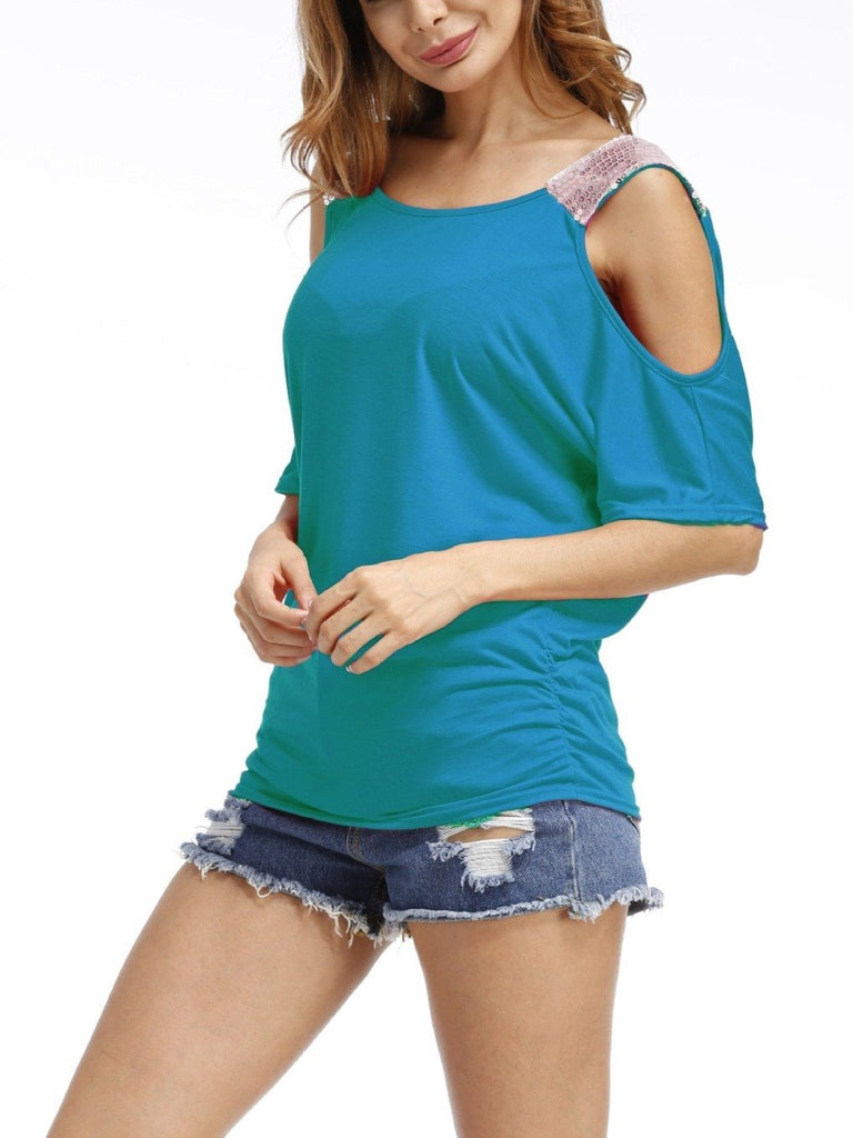 Women's Summer Cold Shoulder Short Sleeves Tops T-shirts