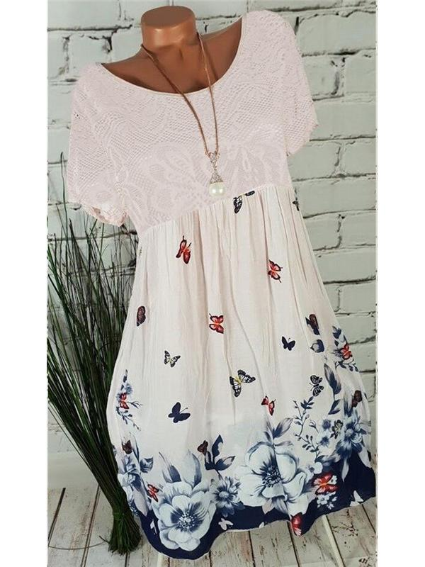 Floral Printed Round-neck Short Sleeve Dress Lace Stitching Dress