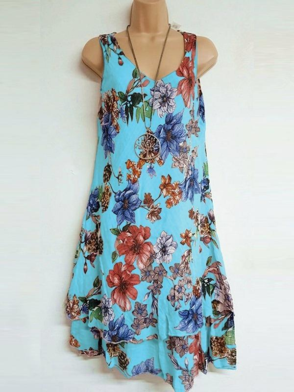 Women's Floral Printed Tunic Tops Dresses S - XXXXXL
