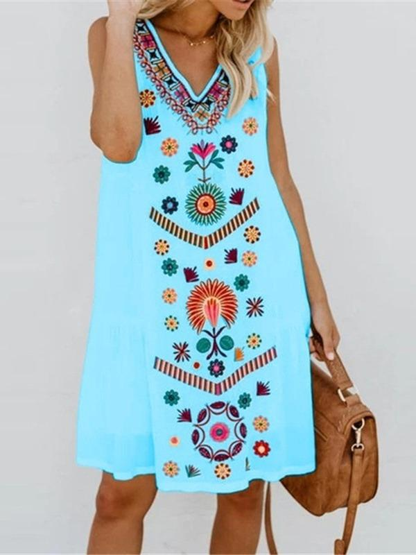 WOmen's Chic Printed V-neck Sleeveless Dresses S - XXXXXL