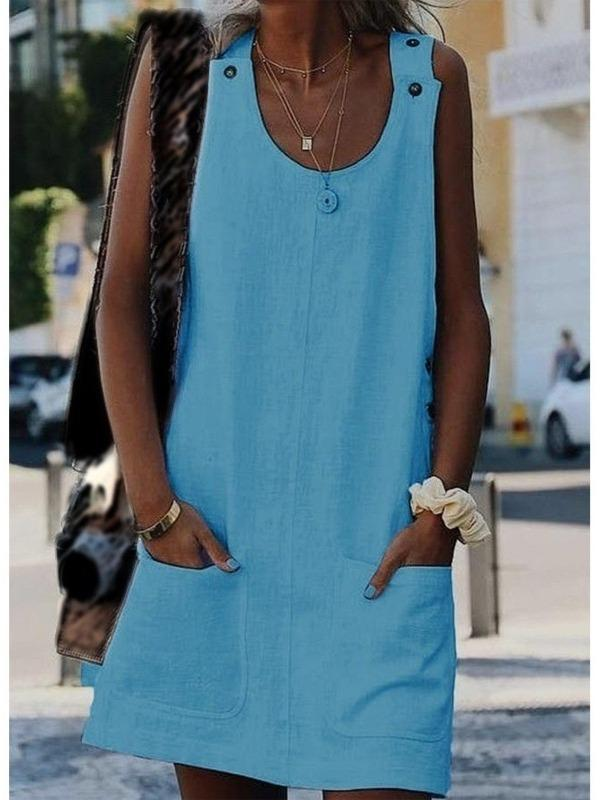 Women's Sleeveless Tunic Dress With Pockets S - XXXXXL