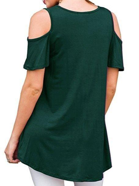 Women  Loose Soft Round Neck Short Sleeve Tops Cold Shoulder Blouse