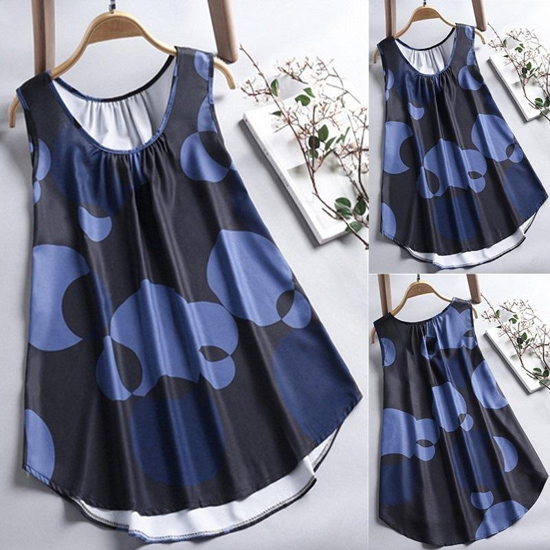 Women Printed Round-neck Sleeveless Tops
