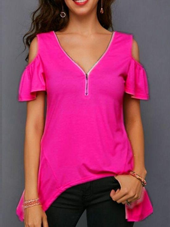WomenV-neck Short Sleeve Tops Cold Shoulder Zipper Fronted Blouse