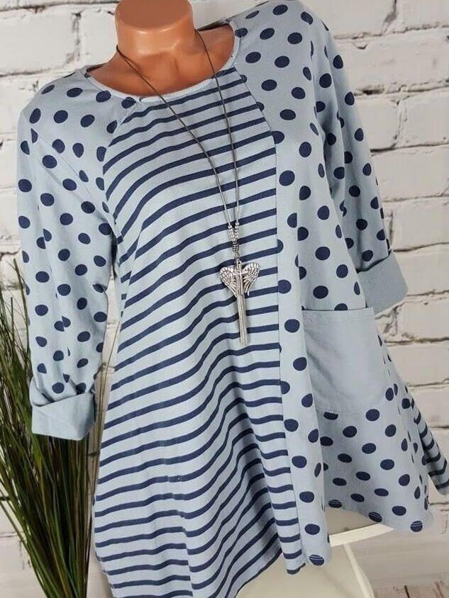 Women Long Sleeve Round-neck Printed Loose Soft Blouse Tops