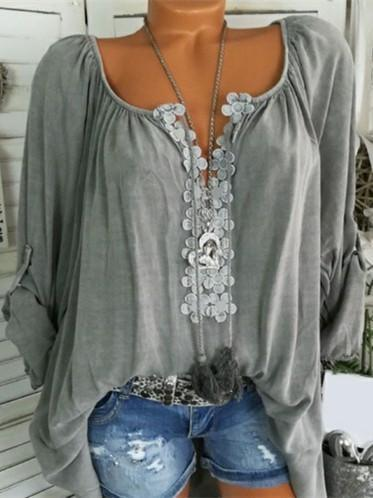 Long Sleeve Lace Stitching Blouse Tops