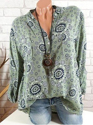 Women Long Sleeve V-neck Loose Soft Blouse Tops