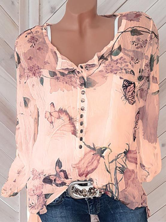 Long Sleeve Printed Shirt V-neck Button Top Chiffon Blouse