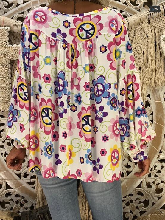 Women Loose Peace V-neck Print Puff Sleeve Long Sleeve T-shirt Tops
