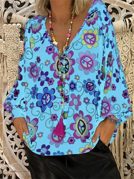 Women Loose Slim V-neck Print Puff Sleeve Long Sleeve T-shirt Tops