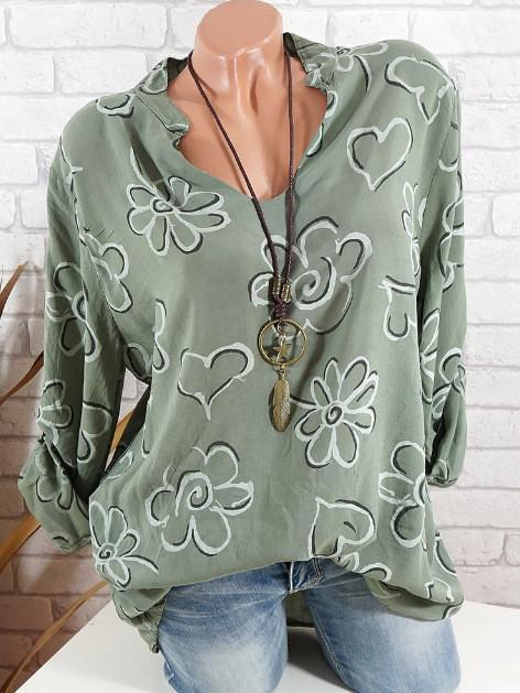 Women Long Sleeve V-neck Print Shirt Loose Plus Size Tops