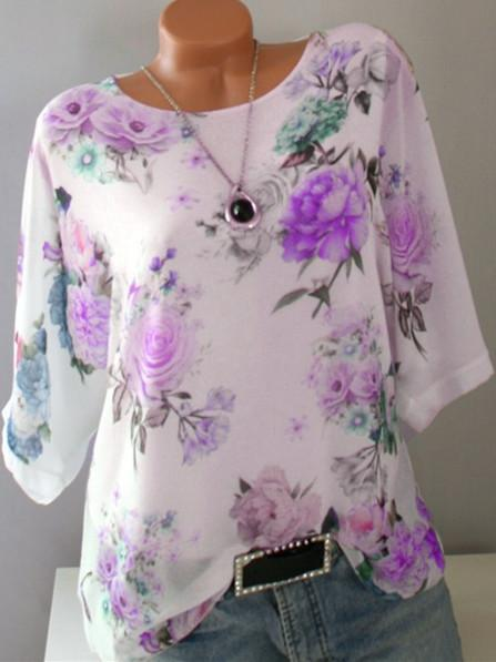 Woman Plus Size Loose Printed Round Neck Half Sleeve T-shirt Tops