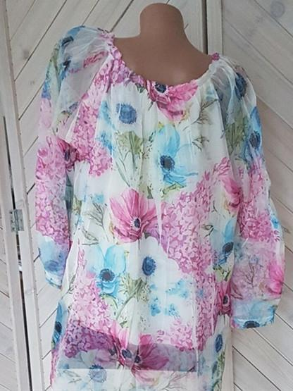 Woman Plus Size Loose Printed Chiffon Shirt Tops