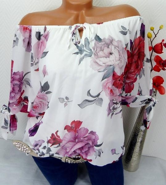 Woman Plus Size Loose Printed Cuffs Tie Short Sleeve T-shirt Tops