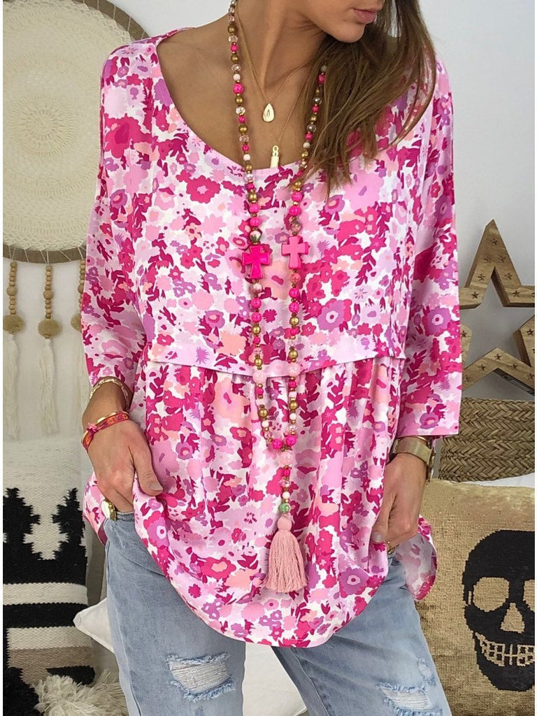 Woman Plus Size Loose Round Neck Print Cropped Sleeve T-shirt Tops