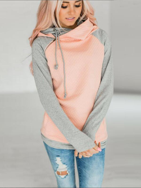 Women Splicing Long Sleeve Tops Hoodie