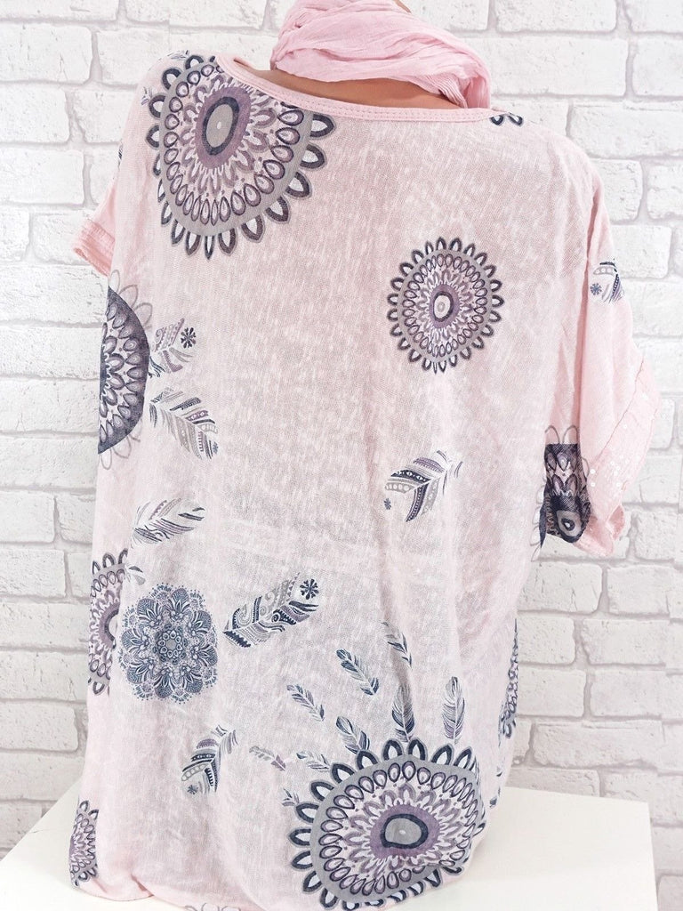 Plus Size Women Big Dot Printed Round-neck Short Sleeve Tops S-5XL