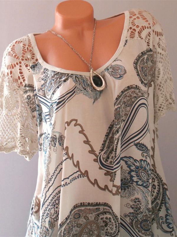 Women Fashion Blouse Casual Loose Floral Printed Round-neck Short Sleeve Tops