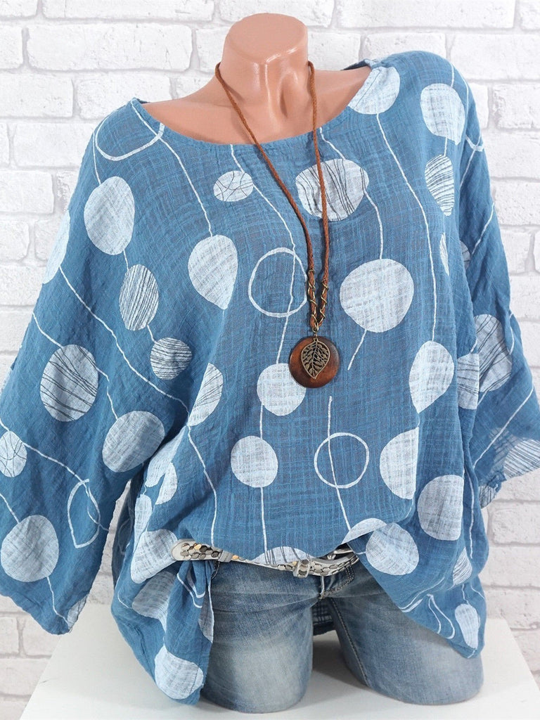Plus Size Women Big Dot Printed Long Sleeve Round Neck Tops S-5XL 8 Color