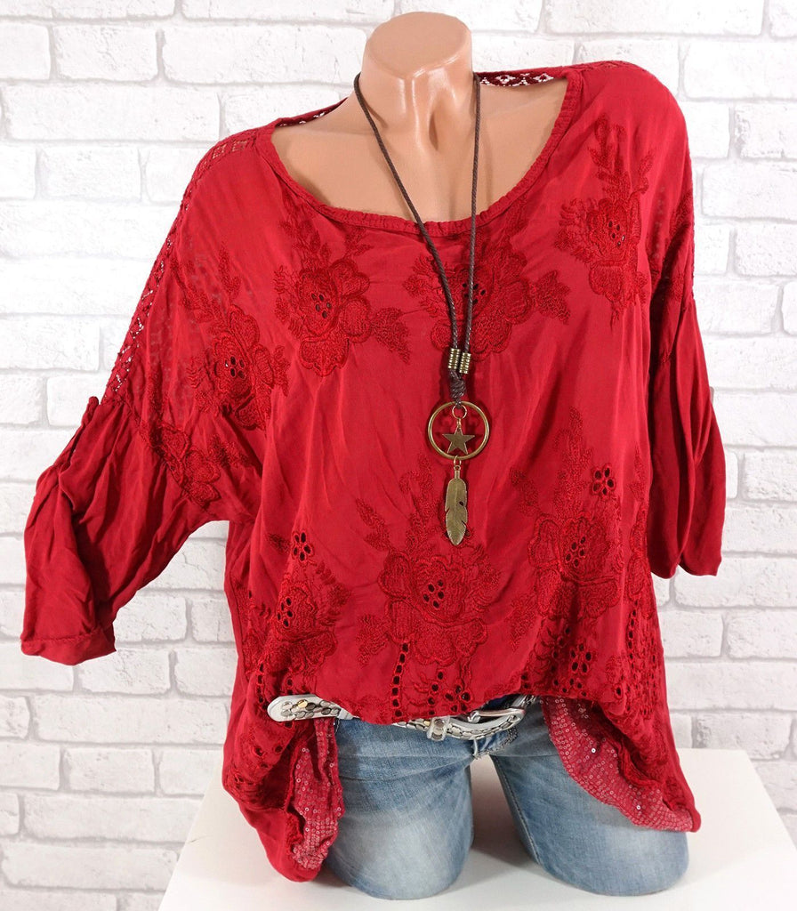 Plus Size Women Lace stitching embroidery Long Sleeve Round Neck Tops 11 Color S-5XL