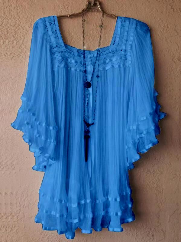 Women's Fashion Scoop Neck Vintage Lace Loose Batwing Short Sleeve Tops Dress