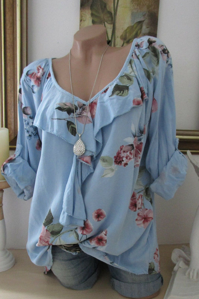 Plus Size Women Rose Printed Casual Loose Long Sleeve Blouse Tops