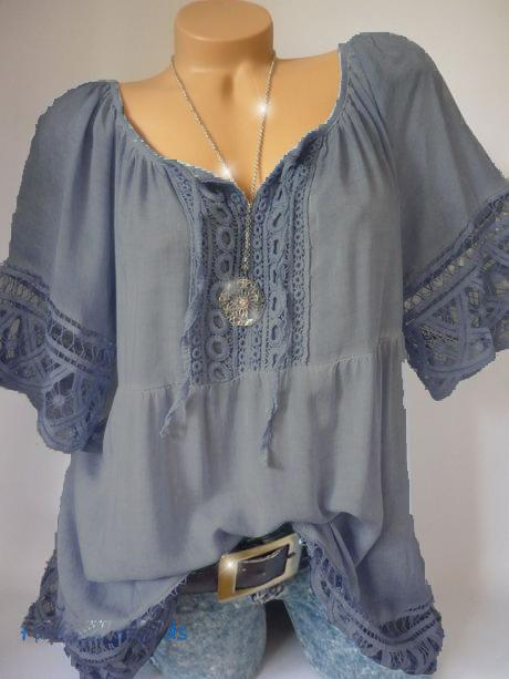 Plus Size Women  Casual Loose Lace Blouse Tops