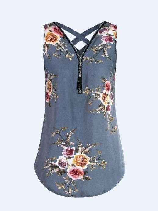 Women V-neck Sleeveless Tops Chiffon Sleeveless Printed Plus Size Blouse Tops
